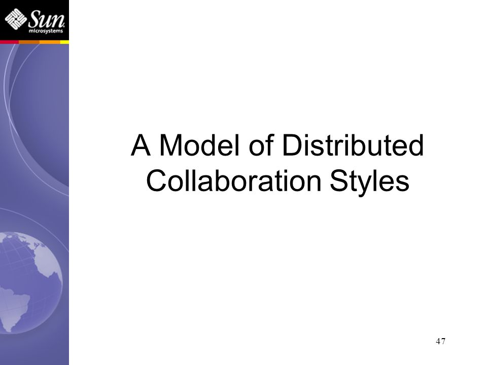 47 A Model of Distributed Collaboration Styles