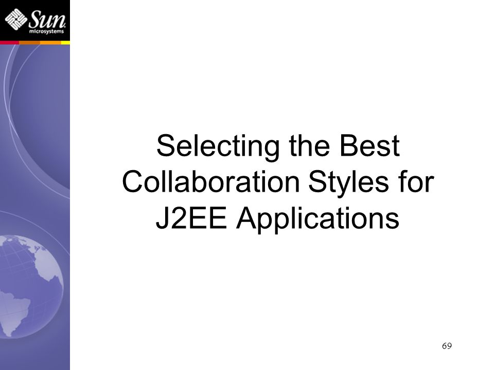 69 Selecting the Best Collaboration Styles for J2EE Applications