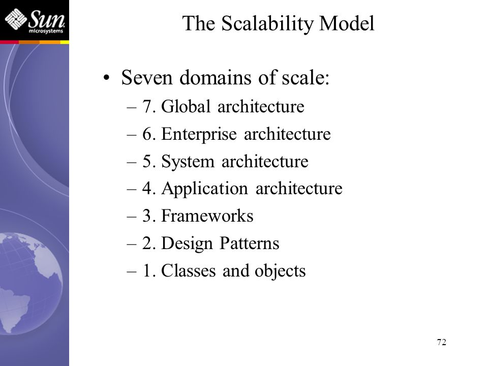 72 Seven domains of scale: –7. Global architecture –6. Enterprise architecture –5. System architecture –4. Application architecture –3. Frameworks –2.