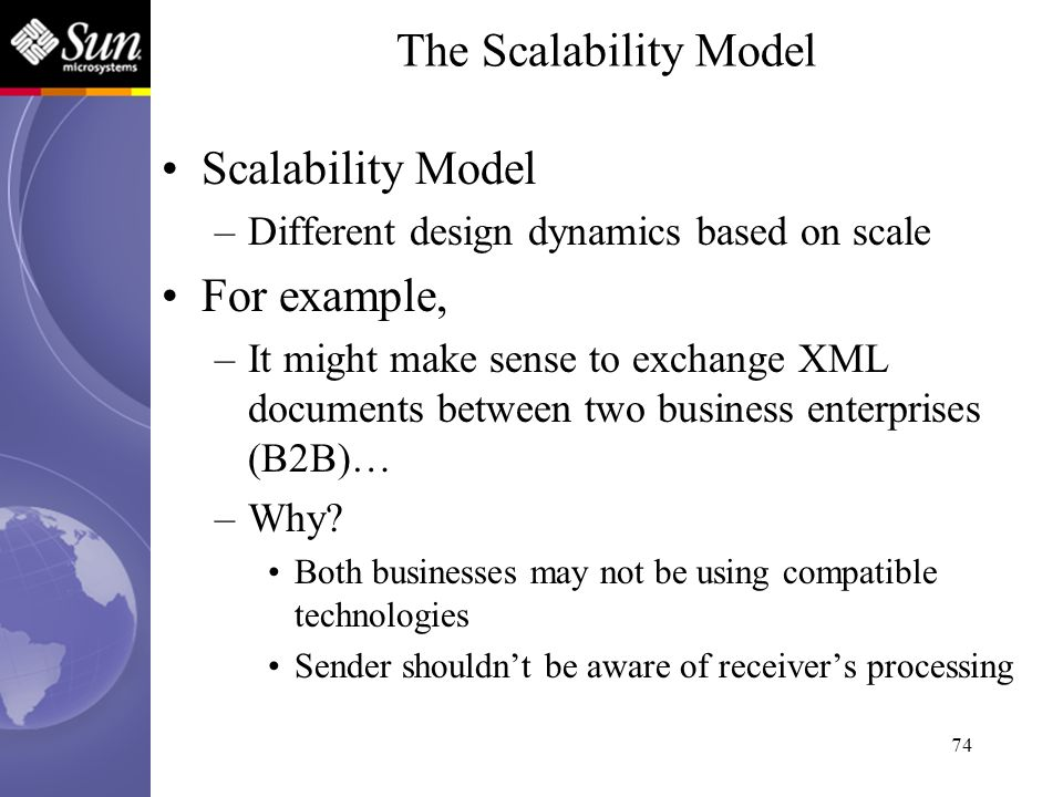 74 Scalability Model –Different design dynamics based on scale For example, –It might make sense to exchange XML documents between two business enterp
