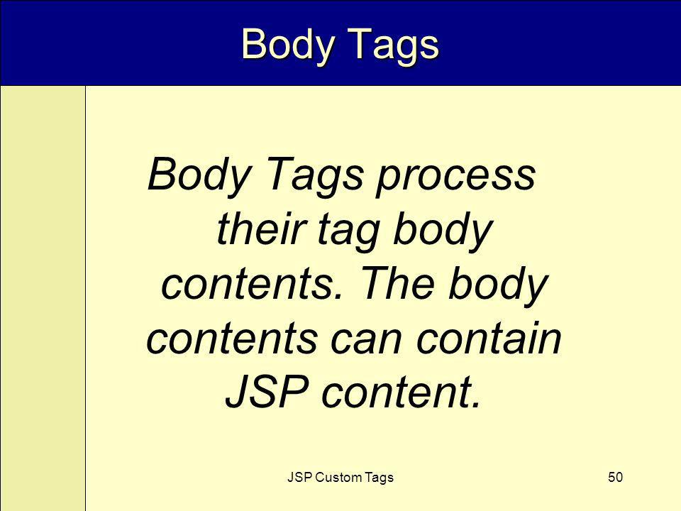 JSP Custom Tags50 Body Tags Body Tags process their tag body contents.