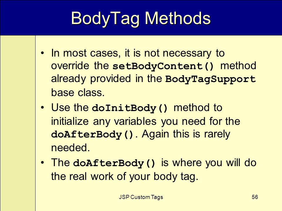 JSP Custom Tags56 BodyTag Methods In most cases, it is not necessary to override the setBodyContent() method already provided in the BodyTagSupport base class.