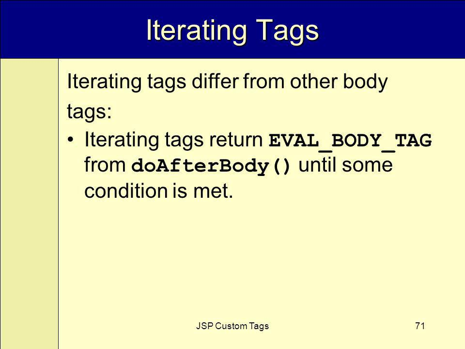 JSP Custom Tags71 Iterating Tags Iterating tags differ from other body tags: Iterating tags return EVAL_BODY_TAG from doAfterBody() until some condition is met.