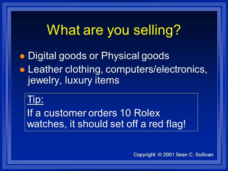 Copyright © 2001 Sean C. Sullivan What are you selling? l Digital goods or Physical goods l Leather clothing, computers/electronics, jewelry, luxury i