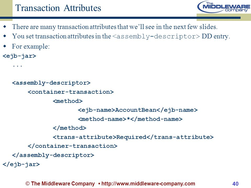 © The Middleware Company http://www.middleware-company.com 40 Transaction Attributes There are many transaction attributes that well see in the next few slides.