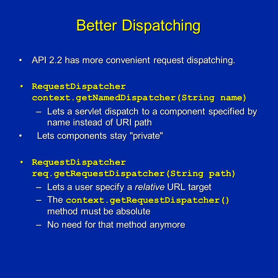 Better Dispatching API 2.2 has more convenient request dispatching.API 2.2 has more convenient request dispatching.