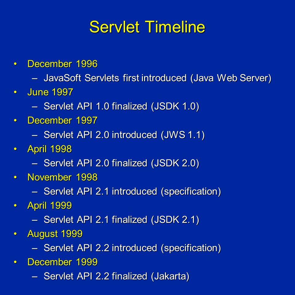 Servlet Timeline December 1996December 1996 –JavaSoft Servlets first introduced (Java Web Server) June 1997June 1997 –Servlet API 1.0 finalized (JSDK 1.0) December 1997December 1997 –Servlet API 2.0 introduced (JWS 1.1) April 1998April 1998 –Servlet API 2.0 finalized (JSDK 2.0) November 1998November 1998 –Servlet API 2.1 introduced (specification) April 1999April 1999 –Servlet API 2.1 finalized (JSDK 2.1) August 1999August 1999 –Servlet API 2.2 introduced (specification) December 1999December 1999 –Servlet API 2.2 finalized (Jakarta)