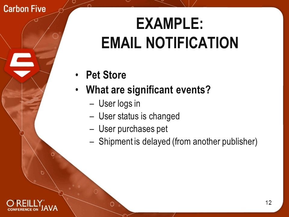 12 EXAMPLE: EMAIL NOTIFICATION Pet Store What are significant events.