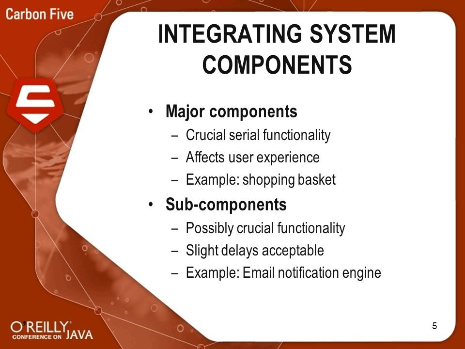 5 INTEGRATING SYSTEM COMPONENTS Major components –Crucial serial functionality –Affects user experience –Example: shopping basket Sub-components –Possibly crucial functionality –Slight delays acceptable –Example: Email notification engine