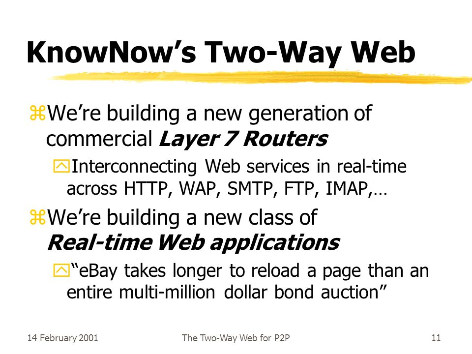 14 February 2001The Two-Way Web for P2P11 KnowNows Two-Way Web zWere building a new generation of commercial Layer 7 Routers yInterconnecting Web services in real-time across HTTP, WAP, SMTP, FTP, IMAP,… zWere building a new class of Real-time Web applications yeBay takes longer to reload a page than an entire multi-million dollar bond auction