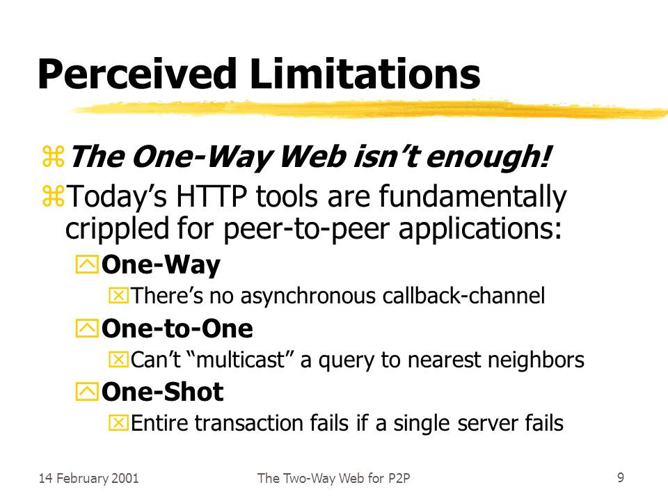 14 February 2001The Two-Way Web for P2P9 Perceived Limitations zThe One-Way Web isnt enough.