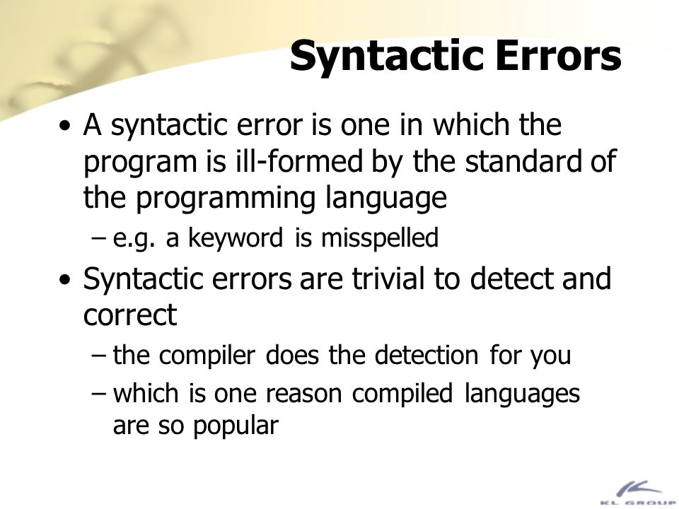 Static Errors Static errors are ones in which the program is syntactically correct but semantically incorrect For example, substituting a > for a < Static errors can be very difficult to detect but are usually quite obvious Javas exception mechanism helps deal with these types of errors
