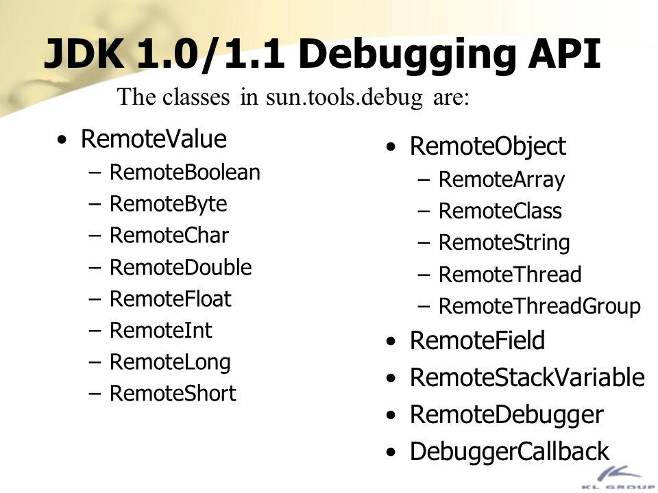 JDK 1.0/1.1 Debugging API RemoteValue –RemoteBoolean –RemoteByte –RemoteChar –RemoteDouble –RemoteFloat –RemoteInt –RemoteLong –RemoteShort RemoteObje