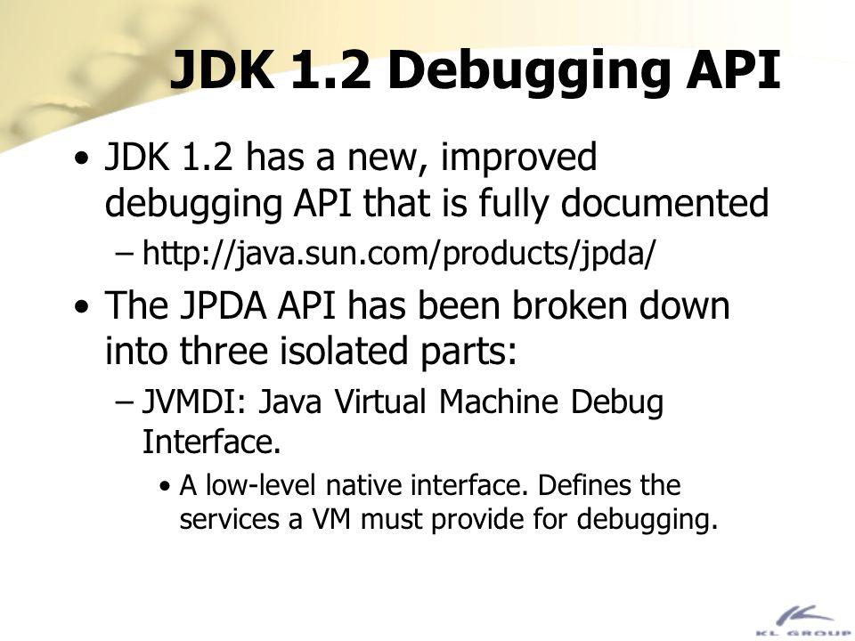 JDK 1.2 Debugging API JDK 1.2 has a new, improved debugging API that is fully documented –http://java.sun.com/products/jpda/ The JPDA API has been bro