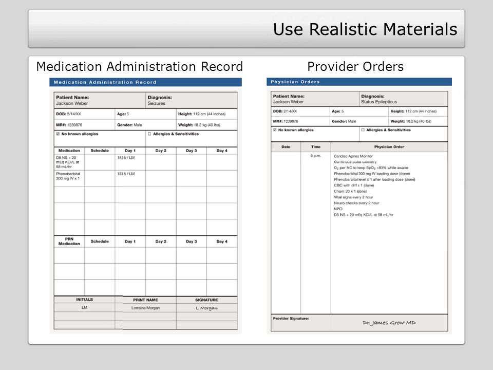 Use Realistic Materials Medication Administration Record Provider Orders