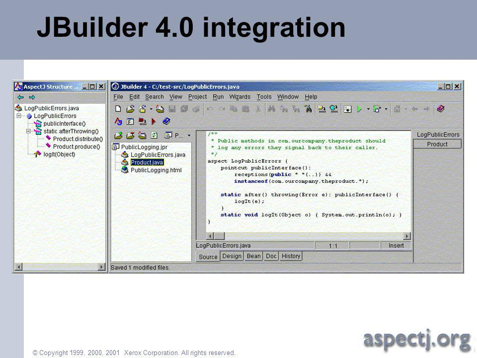 © Copyright 1999, 2000, 2001 Xerox Corporation. All rights reserved. JBuilder 4.0 integration