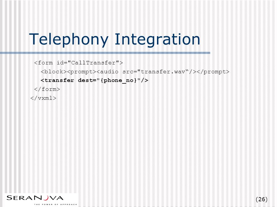 (26) Telephony Integration