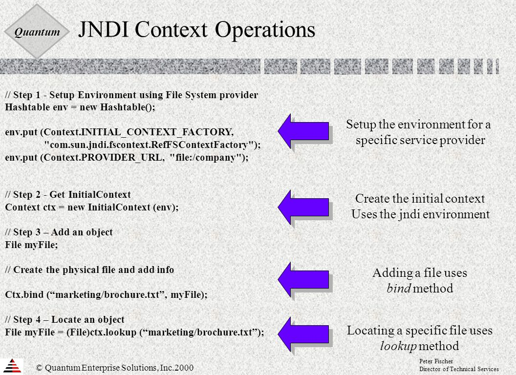 Quantum © Quantum Enterprise Solutions, Inc.2000 Peter Fischer Director of Technical Services JNDI Context Operations // Step 1 - Setup Environment using File System provider Hashtable env = new Hashtable(); env.put (Context.INITIAL_CONTEXT_FACTORY, com.sun.jndi.fscontext.RefFSContextFactory ); env.put (Context.PROVIDER_URL, file:/company ); // Step 2 - Get InitialContext Context ctx = new InitialContext (env); // Step 3 – Add an object File myFile; // Create the physical file and add info Ctx.bind (marketing/brochure.txt, myFile); // Step 4 – Locate an object File myFile = (File)ctx.lookup (marketing/brochure.txt); Setup the environment for a specific service provider Create the initial context Uses the jndi environment Locating a specific file uses lookup method Adding a file uses bind method