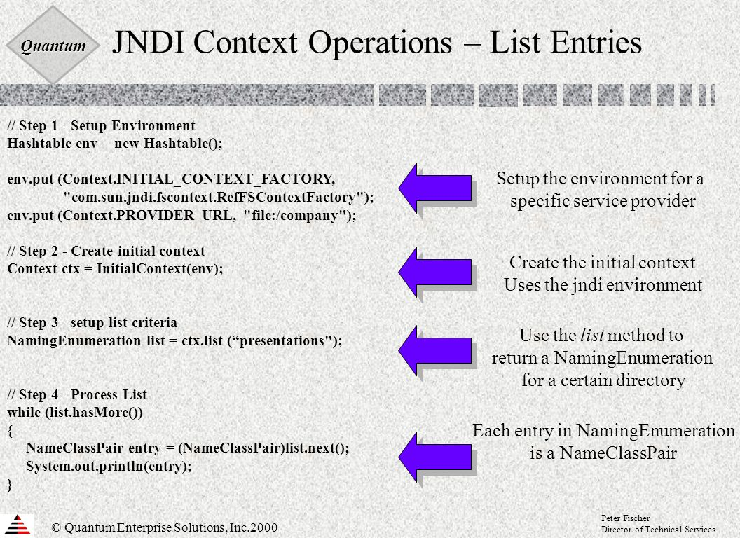 Quantum © Quantum Enterprise Solutions, Inc.2000 Peter Fischer Director of Technical Services JNDI Context Operations – List Entries // Step 1 - Setup Environment Hashtable env = new Hashtable(); env.put (Context.INITIAL_CONTEXT_FACTORY, com.sun.jndi.fscontext.RefFSContextFactory ); env.put (Context.PROVIDER_URL, file:/company ); // Step 2 - Create initial context Context ctx = InitialContext(env); // Step 3 - setup list criteria NamingEnumeration list = ctx.list (presentations ); // Step 4 - Process List while (list.hasMore()) { NameClassPair entry = (NameClassPair)list.next(); System.out.println(entry); } Setup the environment for a specific service provider Create the initial context Uses the jndi environment Each entry in NamingEnumeration is a NameClassPair Use the list method to return a NamingEnumeration for a certain directory