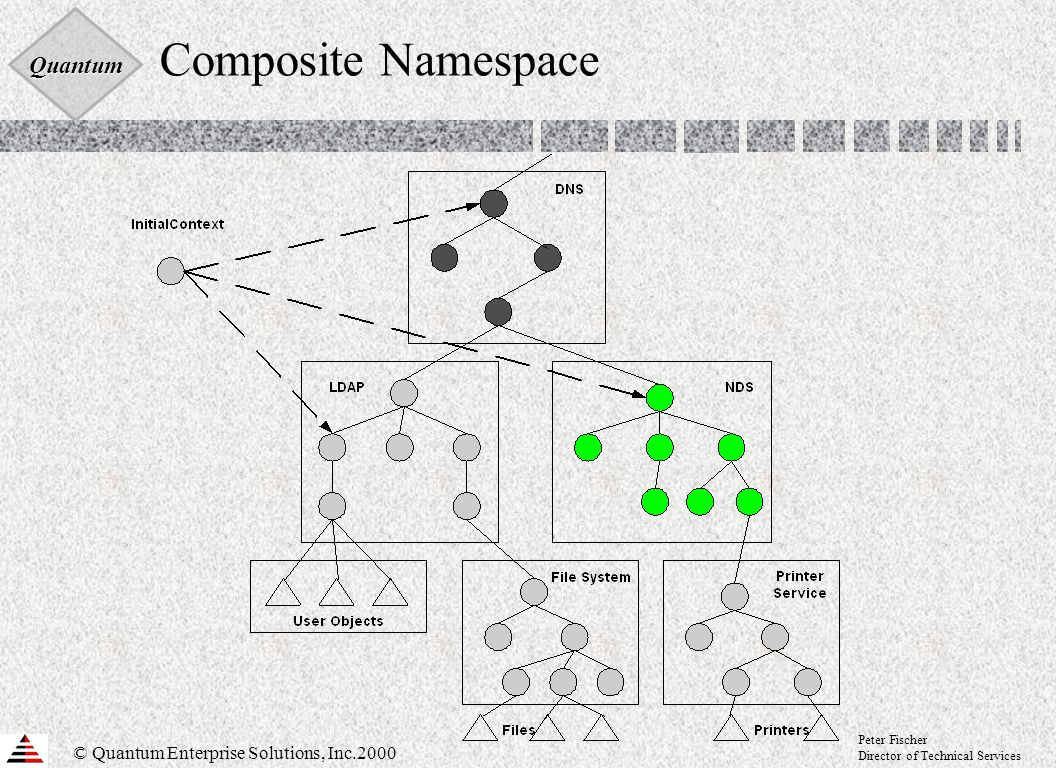 Quantum © Quantum Enterprise Solutions, Inc.2000 Peter Fischer Director of Technical Services Composite Namespace