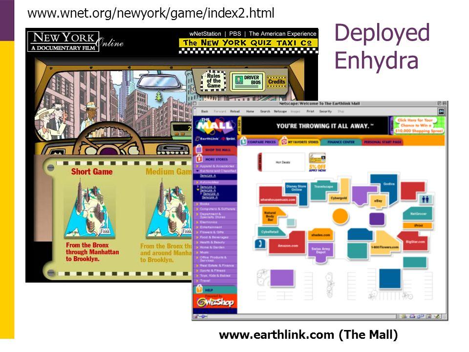 www.earthlink.com (The Mall) www.wnet.org/newyork/game/index2.html Deployed Enhydra