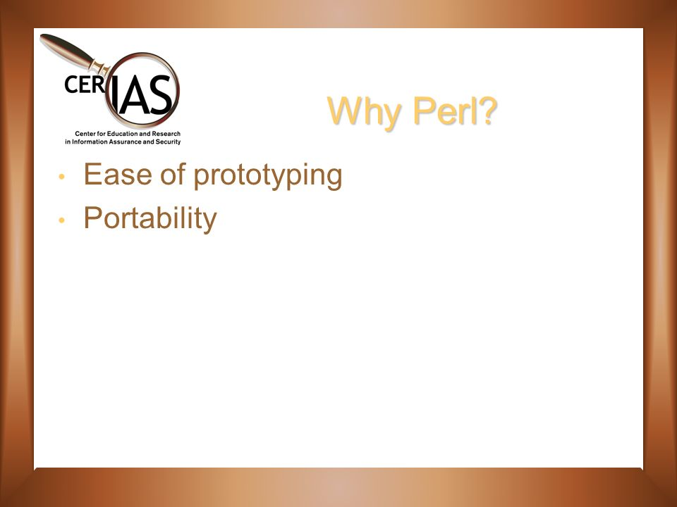 Why Perl Ease of prototyping Portability