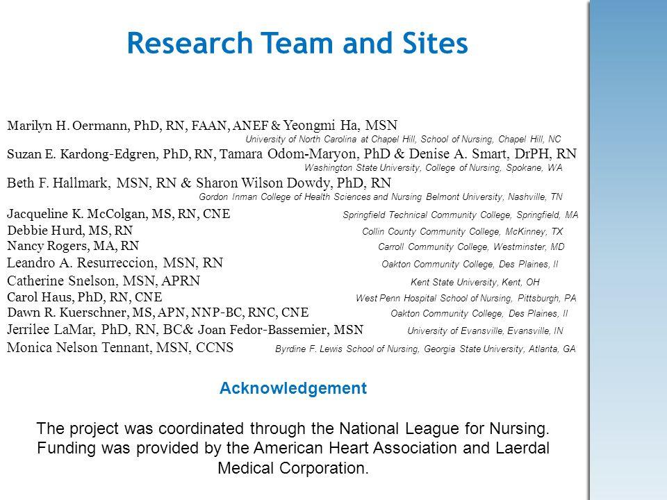 Research Team and Sites Marilyn H. Oermann, PhD, RN, FAAN, ANEF & Yeongmi Ha, MSN University of North Carolina at Chapel Hill, School of Nursing, Chap