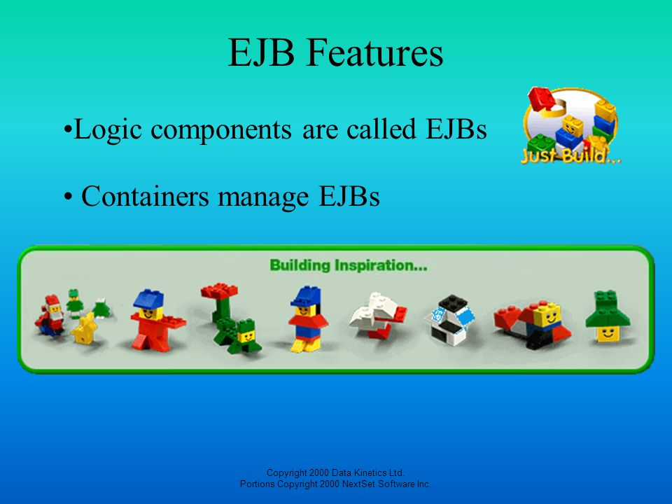Copyright 2000 Data Kinetics Ltd. Portions Copyright 2000 NextSet Software Inc. EJB Features Containers manage EJBs Logic components are called EJBs