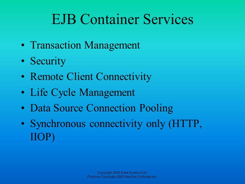 Copyright 2000 Data Kinetics Ltd. Portions Copyright 2000 NextSet Software Inc. EJB Container Services Transaction Management Security Remote Client C