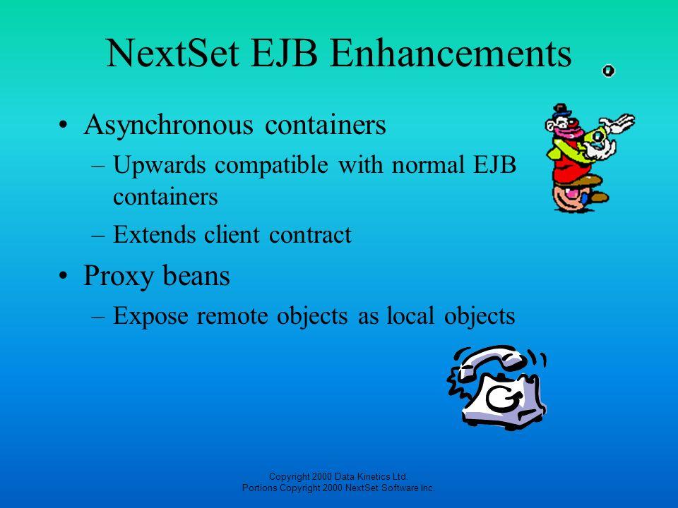 Copyright 2000 Data Kinetics Ltd. Portions Copyright 2000 NextSet Software Inc. NextSet EJB Enhancements Asynchronous containers –Upwards compatible w