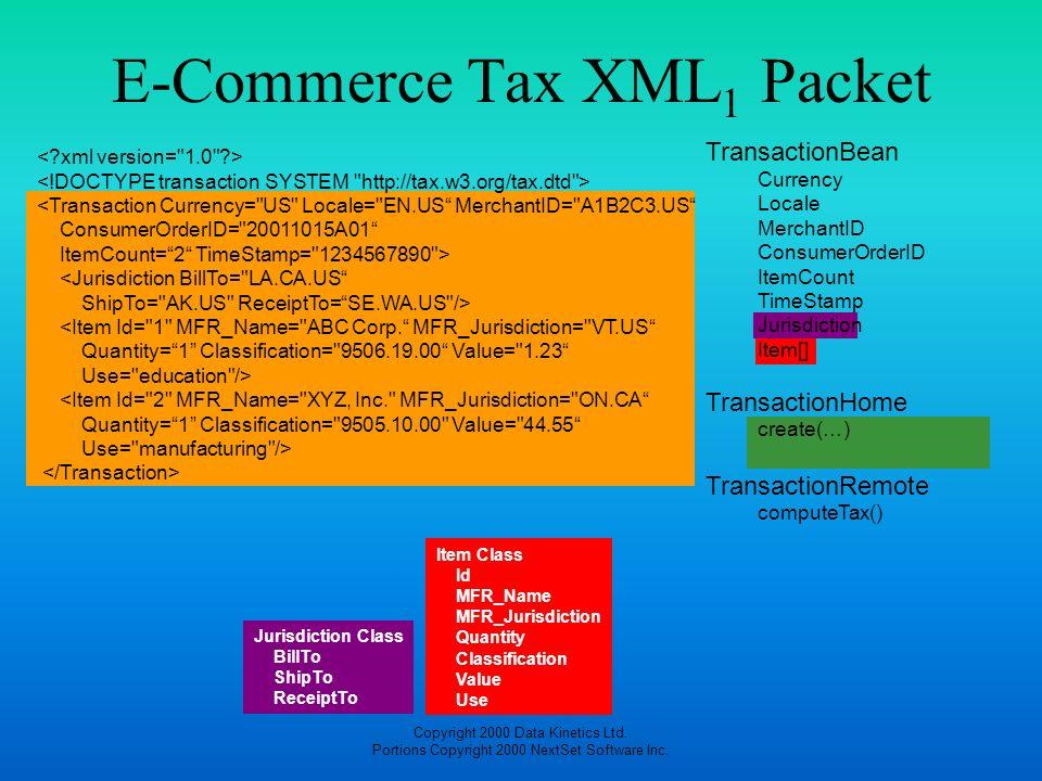 Copyright 2000 Data Kinetics Ltd. Portions Copyright 2000 NextSet Software Inc. E-Commerce Tax XML 1 Packet Jurisdiction Class BillTo ShipTo ReceiptTo