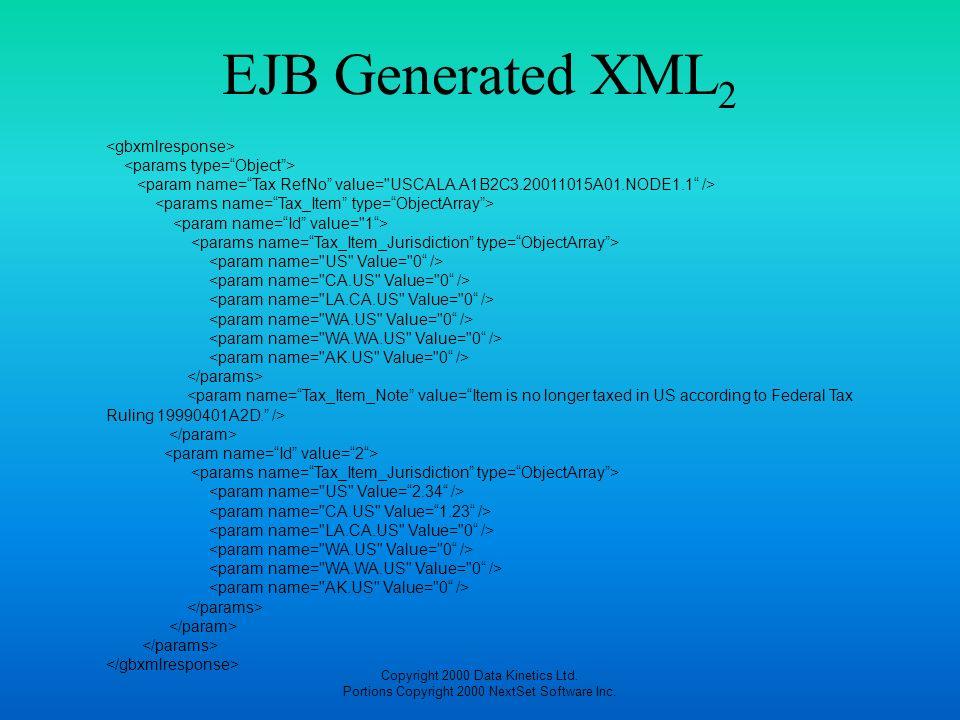 Copyright 2000 Data Kinetics Ltd. Portions Copyright 2000 NextSet Software Inc. EJB Generated XML 2