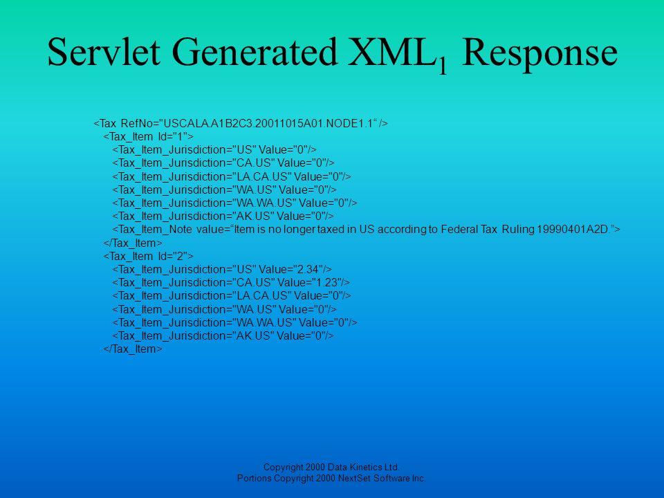 Copyright 2000 Data Kinetics Ltd. Portions Copyright 2000 NextSet Software Inc. Servlet Generated XML 1 Response