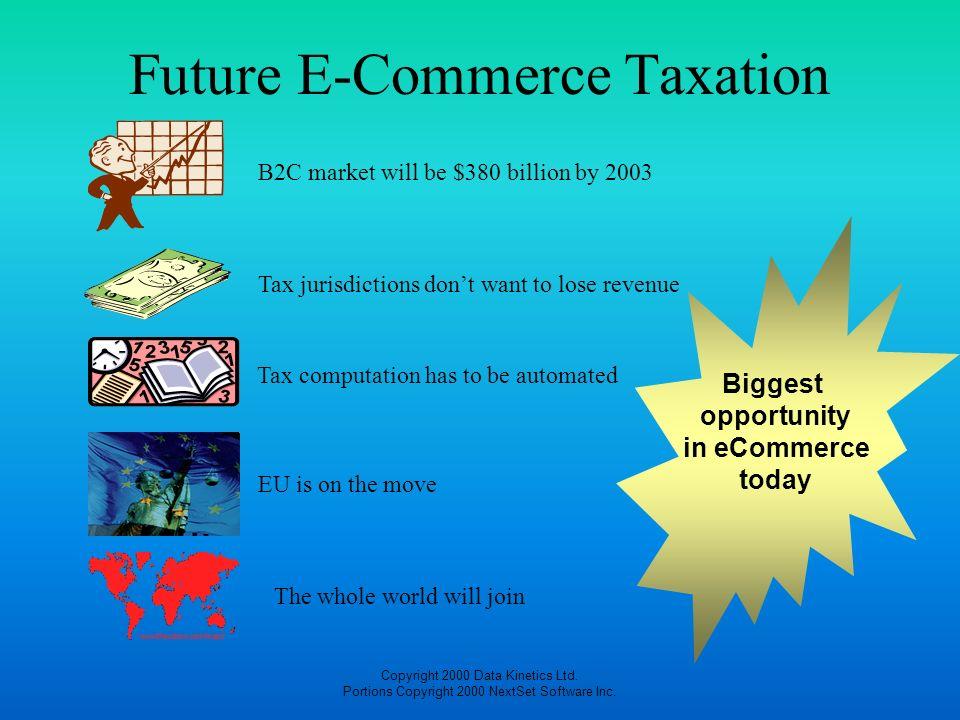Copyright 2000 Data Kinetics Ltd. Portions Copyright 2000 NextSet Software Inc. Future E-Commerce Taxation Tax jurisdictions dont want to lose revenue