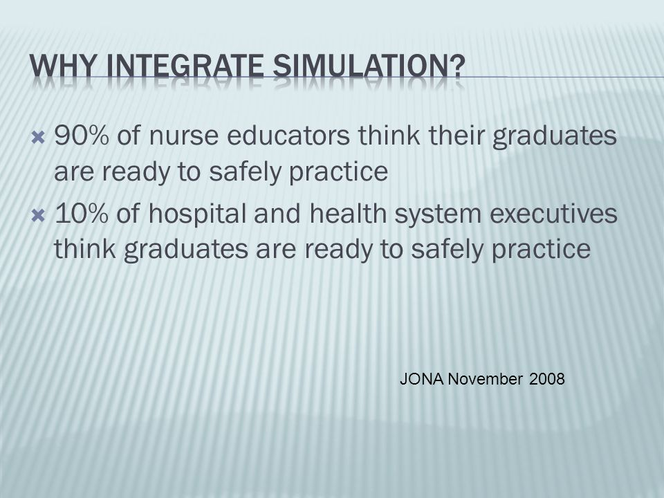 90% of nurse educators think their graduates are ready to safely practice 10% of hospital and health system executives think graduates are ready to sa