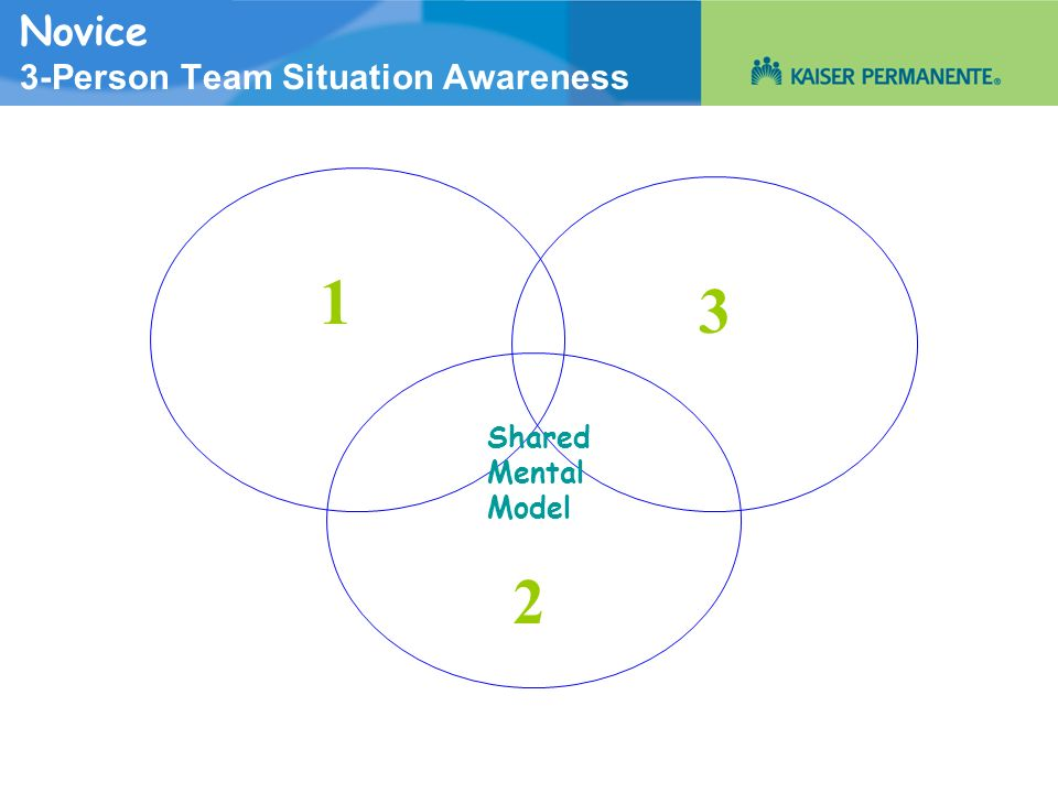 Novice 3-Person Team Situation Awareness Shared Mental Model 1 2 3