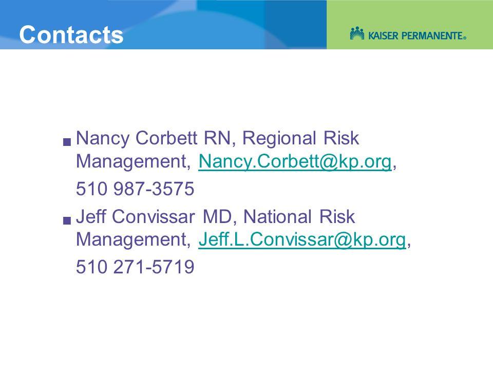 Contacts Nancy Corbett RN, Regional Risk Management, Nancy.Corbett@kp.org,Nancy.Corbett@kp.org 510 987-3575 Jeff Convissar MD, National Risk Managemen