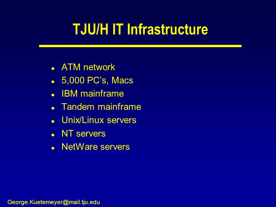 George.Kuetemeyer@mail.tju.edu TJU/H IT Infrastructure l ATM network l 5,000 PCs, Macs l IBM mainframe l Tandem mainframe l Unix/Linux servers l NT servers l NetWare servers