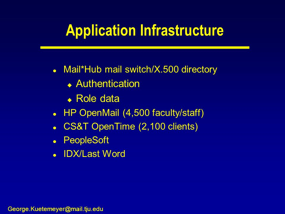 George.Kuetemeyer@mail.tju.edu Application Infrastructure l Mail*Hub mail switch/X.500 directory u Authentication u Role data l HP OpenMail (4,500 faculty/staff) l CS&T OpenTime (2,100 clients) l PeopleSoft l IDX/Last Word