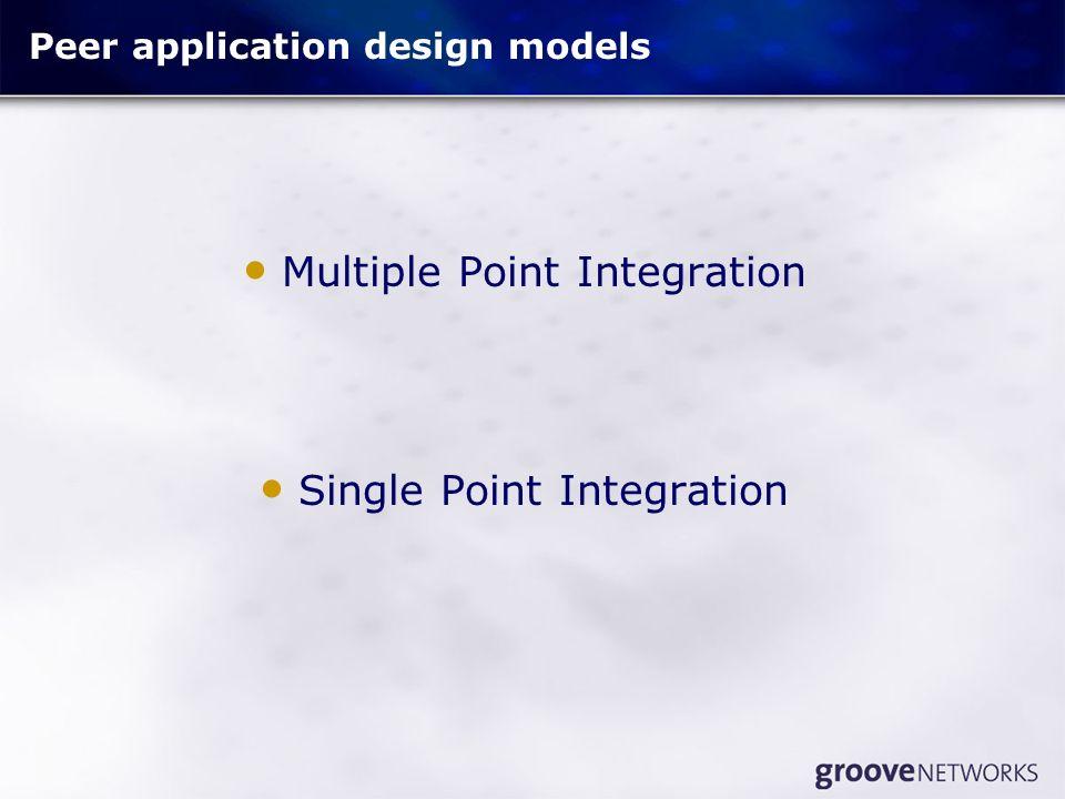 Peer application design models Multiple Point Integration Single Point Integration