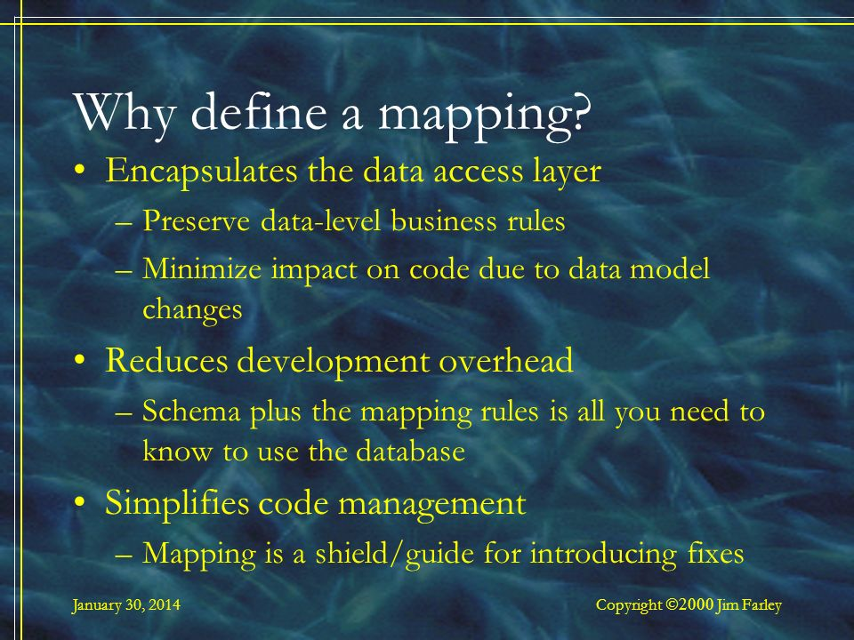 January 30, 2014 Copyright Jim Farley Why define a mapping.