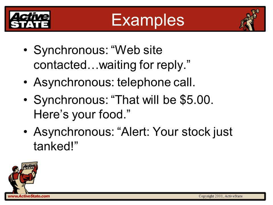 Copyright 2001, ActiveState Examples Synchronous: Web site contacted…waiting for reply.
