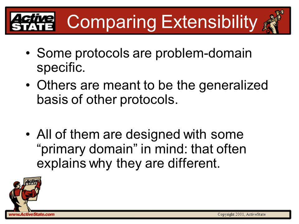 Copyright 2001, ActiveState Comparing Extensibility Some protocols are problem-domain specific. Others are meant to be the generalized basis of other