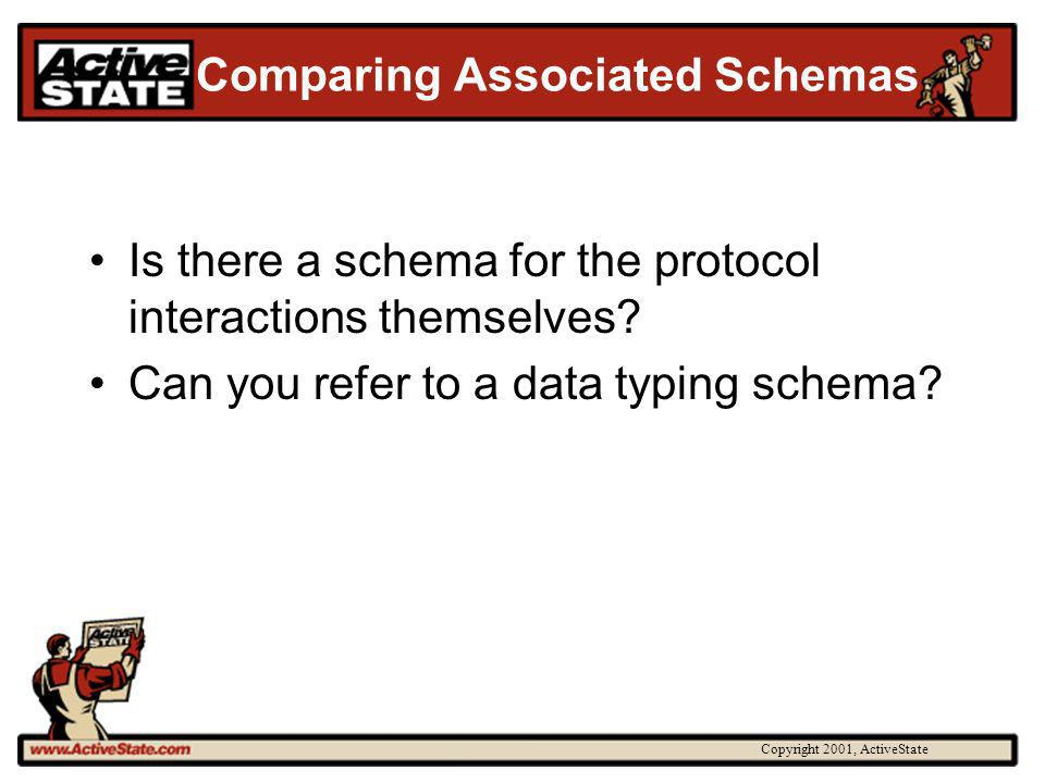 Copyright 2001, ActiveState Comparing Associated Schemas Is there a schema for the protocol interactions themselves.