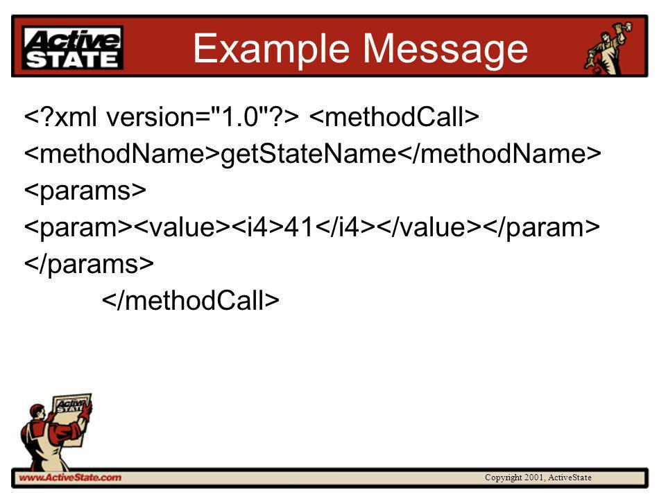 Copyright 2001, ActiveState Example Message getStateName 41
