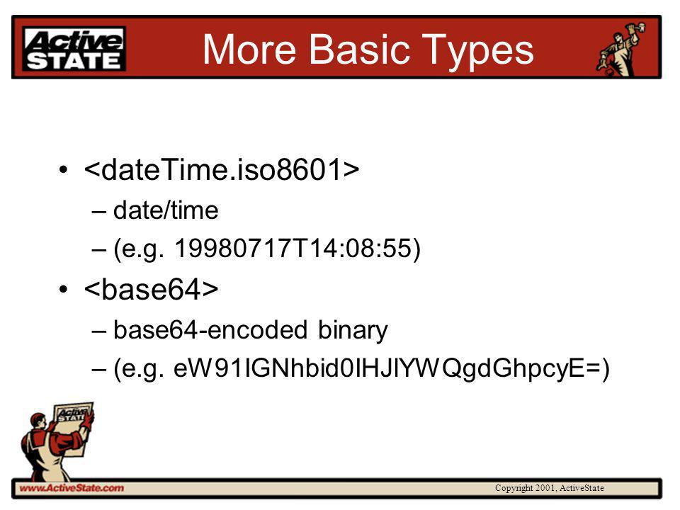 Copyright 2001, ActiveState More Basic Types –date/time –(e.g. 19980717T14:08:55) –base64-encoded binary –(e.g. eW91IGNhbid0IHJlYWQgdGhpcyE=)