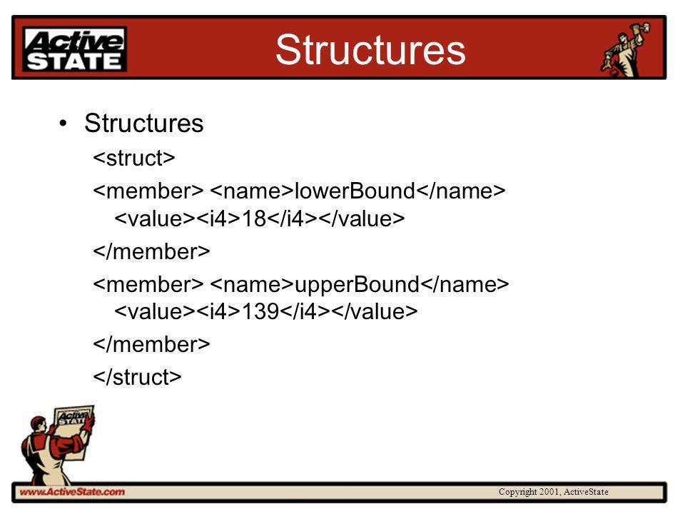 Copyright 2001, ActiveState Structures lowerBound 18 upperBound 139