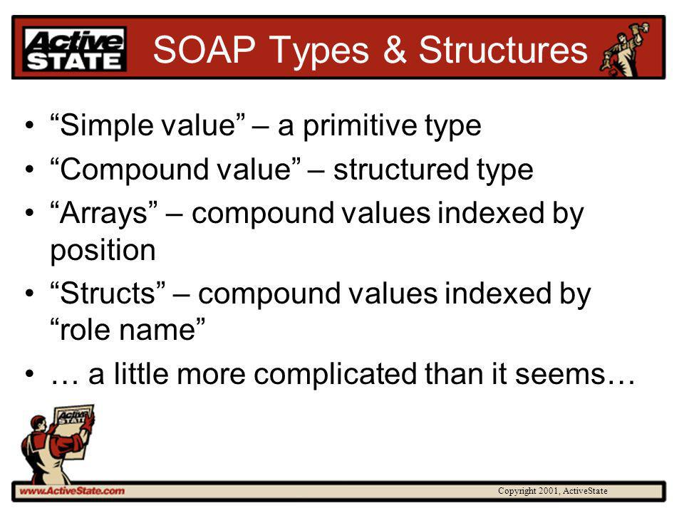 Copyright 2001, ActiveState SOAP Types & Structures Simple value – a primitive type Compound value – structured type Arrays – compound values indexed by position Structs – compound values indexed by role name … a little more complicated than it seems…