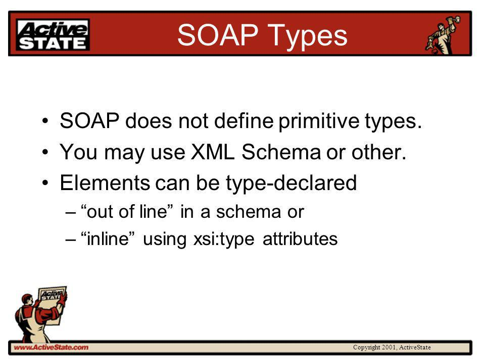 Copyright 2001, ActiveState SOAP Types SOAP does not define primitive types.