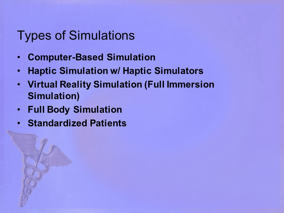 Types of Simulations Computer-Based Simulation Haptic Simulation w/ Haptic Simulators Virtual Reality Simulation (Full Immersion Simulation) Full Body Simulation Standardized Patients